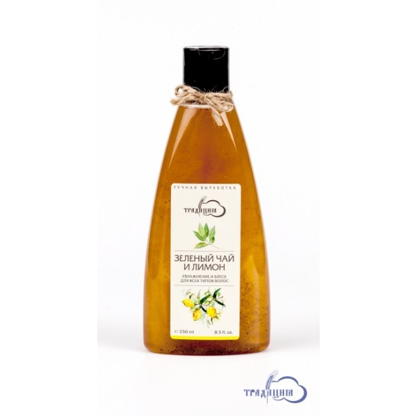 """Шампунь """"Зеленый чай и лимон"""" увлажнение и блеск для всех типов волос 250,0 мл"""